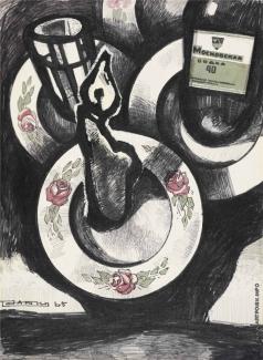 Рабин О. Я. Натюрморт со свечой и бутылкой Московской водки
