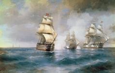 Айвазовский И. К. Бриг «Меркурий», атакованный двумя турецкими кораблями