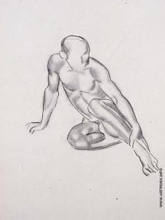 Тырса Н. А. Натурщик, сидящий на полу. Опора на правую руку