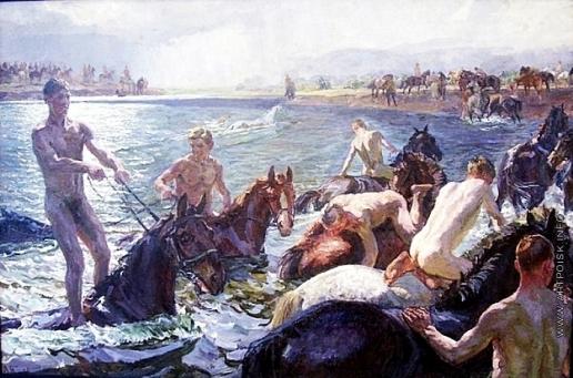Пластов А. А. Купание коней