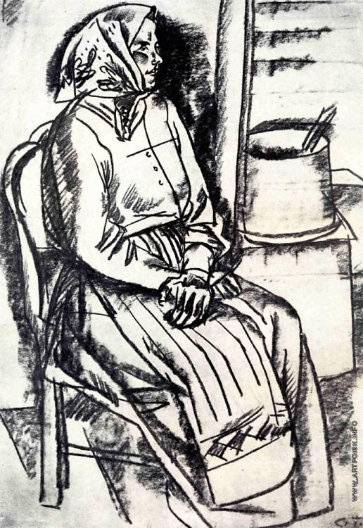 Герасимов С. В. Крестьянка. Подготовительный этюд к картине «Баба со ступой»