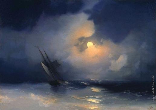 Айвазовский И. К. Буря на море лунной ночью