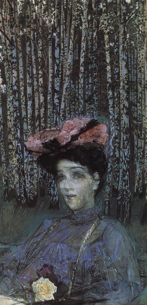 Врубель М. А. Портрет Н.И. Забелы-Врубель на фоне березок