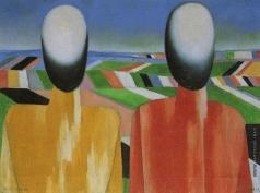 Малевич К. С. Два крестьянина на фоне полей