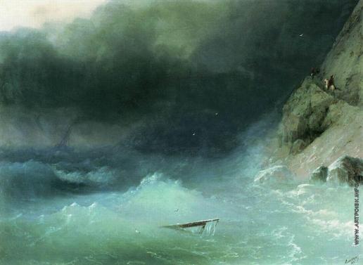 Айвазовский И. К. Буря у скалистых берегов