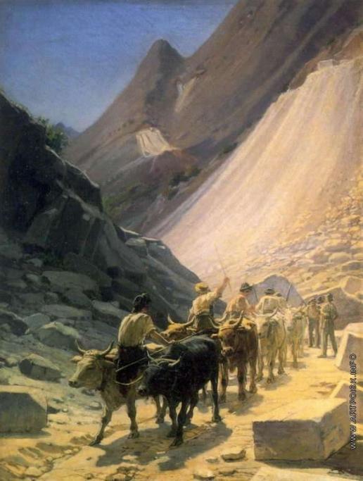 Ге Н. Н. Перевозка мрамора в Карраре