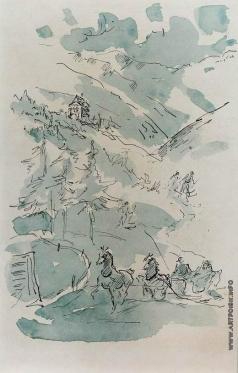 Бехтеев В. Г. Повозка в горах