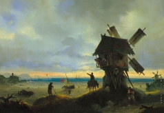 Айвазовский И. К. Ветряная мельница на берегу моря