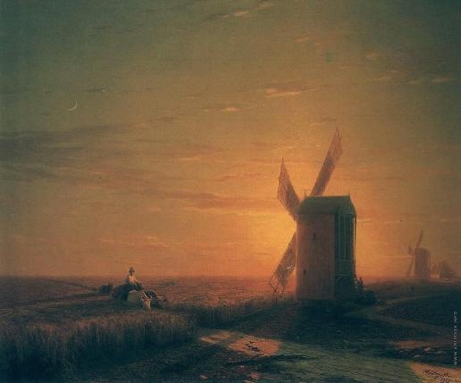 Айвазовский И. К. Ветряные мельницы в украинской степи при закате солнца