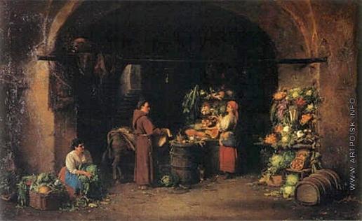 Риццони А. А. Капуцин собирает на монастырь в римской овощной лавке. (Овощная лавка)