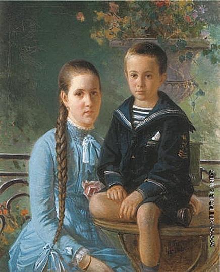 Ге Н. Н. Портрет дочери и сына О.П. Волконской