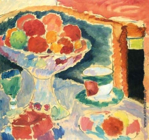 Явленский А. Г. Натюрморт с вазой с фруктами, богемским бокалом и ампирной чашкой
