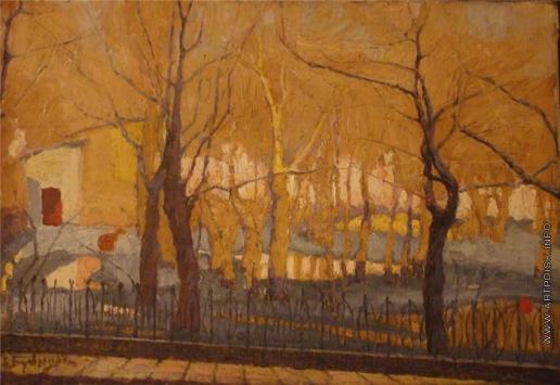Бубнова В. Д. Пейзаж с деревьями и оградой