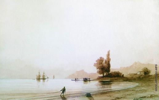 Айвазовский И. К. Вид на скалистый берег со стороны моря