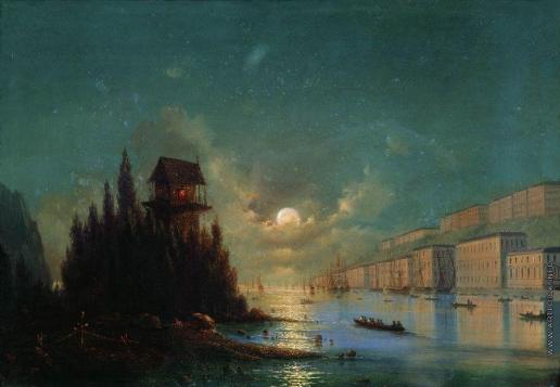 Айвазовский И. К. Вид приморского города вечером с зажженным маяком