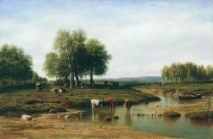 Клодт М. К. Стадо у реки в полдень