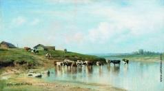 Клодт М. К. Полдень (Коровы в воде)