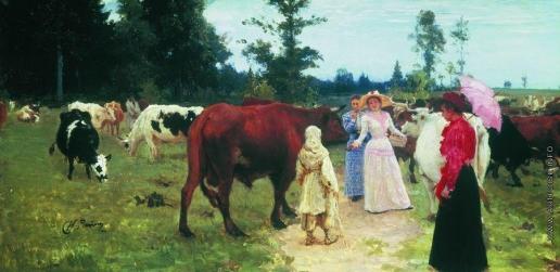 Репин И. Е. Барышни среди стада коров