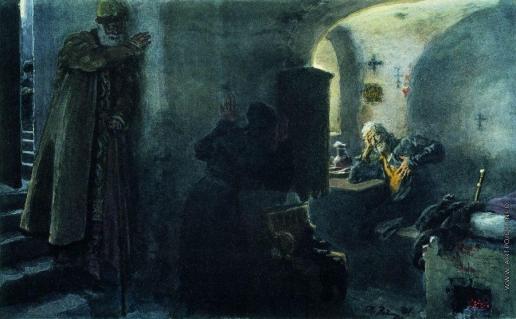 Репин И. Е. Инок Филарет в заточении в Антониево-Сийском монастыре