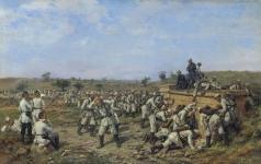 Ковалевский П. О. Привал 140-го пехотного Зарайского полка 35-й пехотной дивизии. 1877 год