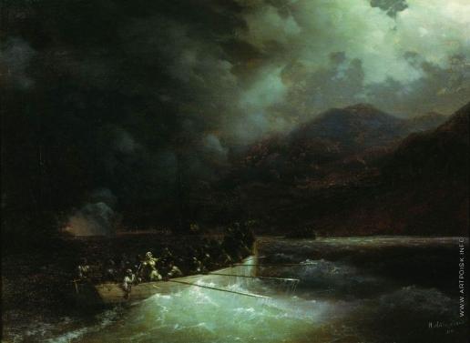 Айвазовский И. К. Героиня Боболина с охотниками прорывается под градом выстрелов на катере сквозь турецкий флот, блокировавший Навина в 1827 году