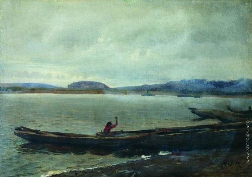 Репин И. Е. Волжский пейзаж с лодками. Этюд