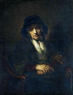 Репин И. Е. Портрет старушки. Копия с оригинала Рембрандта (1654, ГМИИ)