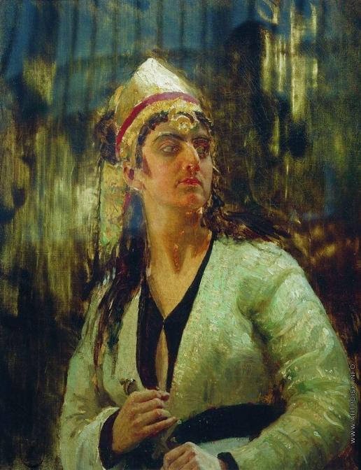 Репин И. Е. Женщина с кинжалом. Этюд для картины «Садко»