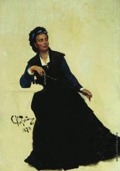 """Репин И. Е. Дама, играющая зонтиком. Этюд для картины """"Парижское кафе"""" (1875, частное собрание, Лондон)"""