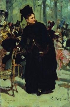 """Репин И. Е. Дама, опирающаяся на спинку стула. Этюд для картины """"Парижское кафе"""""""