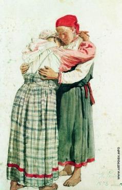 Репин И. Е. Две женские фигуры (Обнимающиеся крестьянки)