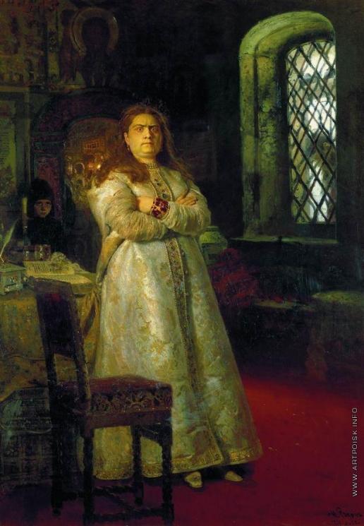 Репин И. Е. Царевна Софья Алексеевна через год после заключения ее в Новодевичьем монастыре, во время казни стрельцов и пытки всей ее прислуги в 1698 году