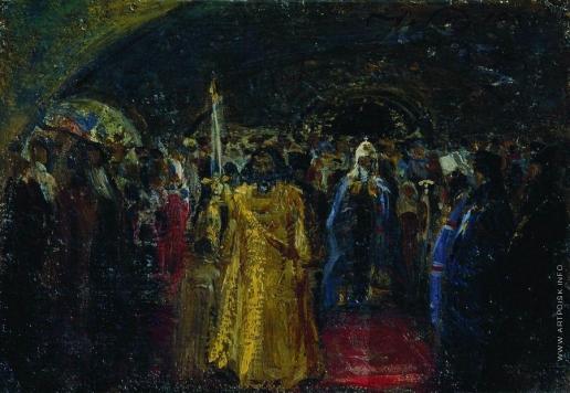 Репин И. Е. Выход патриарха Гермогена. Эскиз неосуществленной картины