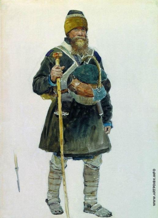 Репин И. Е. Паломник. Этюд для картины «Крестный ход в Курской губернии» (1881-1883), находящейся в ГТГ