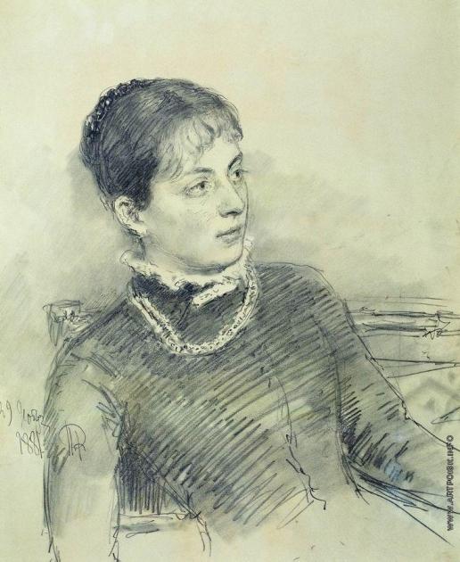 Репин И. Е. Портрет молодой жены, сидящей на диване