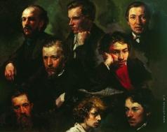 Максимов В. М. Автопортрет и портреты товарищей