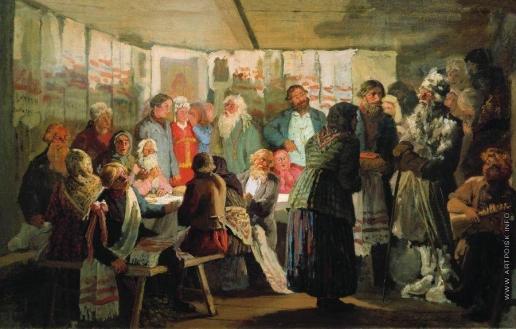 Максимов В. М. Приход колдуна на крестьянскую свадьбу (эскиз)
