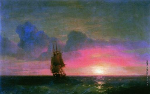 Айвазовский И. К. Закат солнца. Одинокий парусник