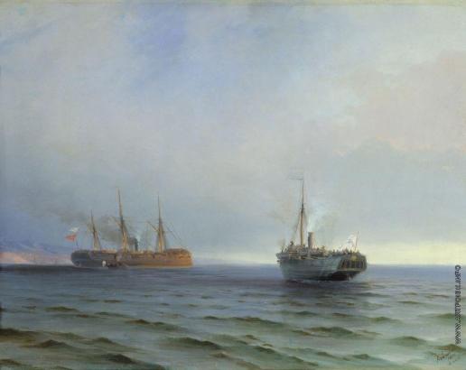 Айвазовский И. К. Захват пароходом «Россия» турецкого военного транспорта «Мессина» на Чёрном море 13 декабря 1877 года