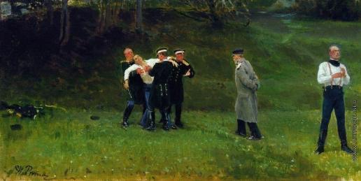 Репин И. Е. Дуэль. Вариант одноименной картины (1896, частное собрание, Нью-Йорк)