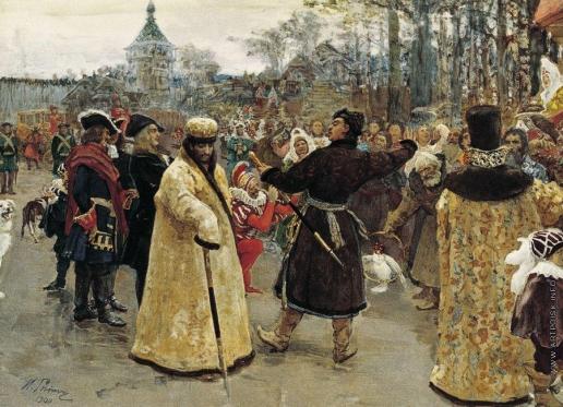 Репин И. Е. Приезд царей Иоанна и Петра Алексеевичей на Семеновский потешный двор в сопровождении свиты