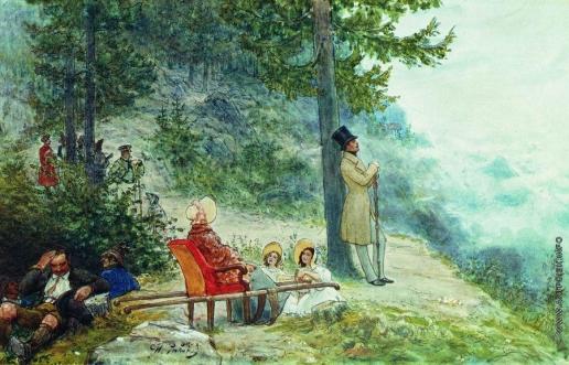 Репин И. Е. Император Николай I и императрица Александра Федоровна. Иллюстрация к книге