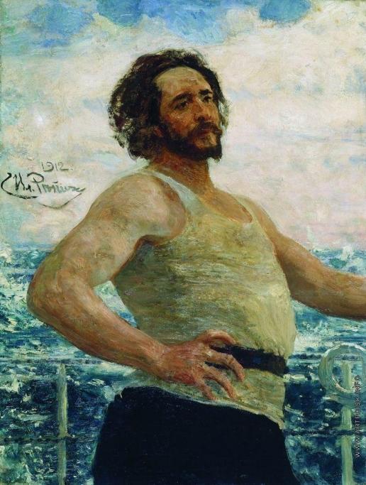 Репин И. Е. Портрет писателя Л.Н.Андреева на яхте