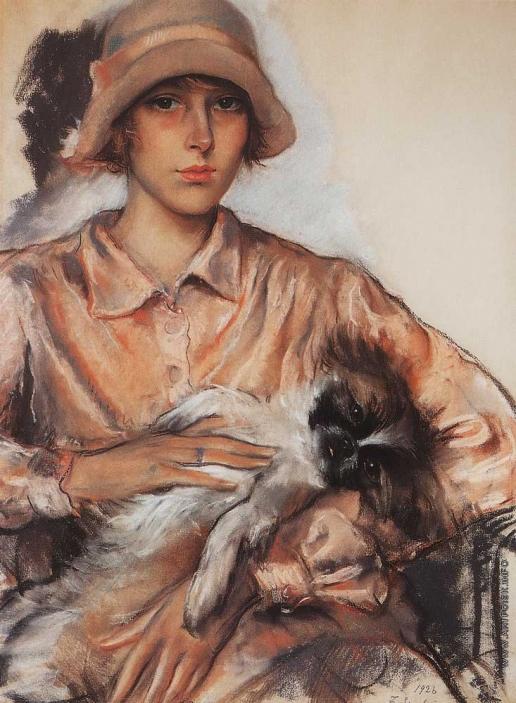 Серебрякова З. Е. Портрет Дамы с собачкой. И. Велан