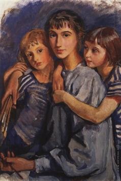Серебрякова З. Е. Автопортрет с дочерьми