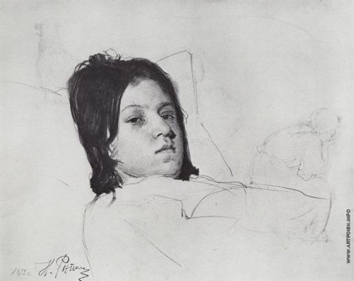 Репин И. Е. Женская голова (В.А.Репина, лежащая в постели)