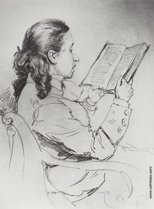 Репин И. Е. Портрет Е.Г.Мамонтовой за чтением.