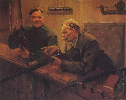 Сварог В. С. Товарищи К.Е. Ворошилов и А.М. Горький в тире ЦДКА