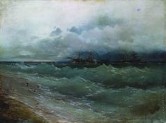Айвазовский И. К. Корабли в бурном море. Восход солнца