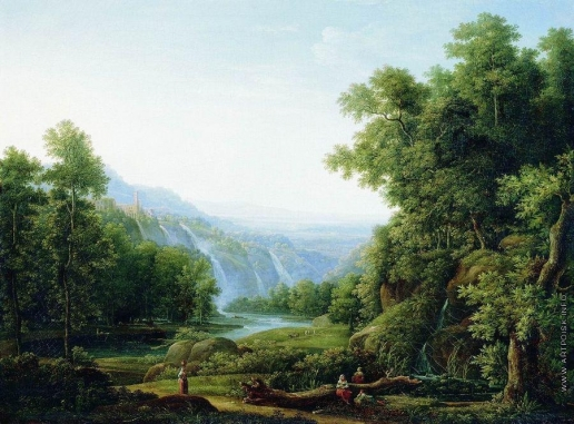 Матвеев Ф. М. Водопад в Тиволи близ Рима